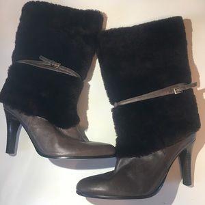 Lauren Ralph Lauren Black Leather Faux Fur Boots